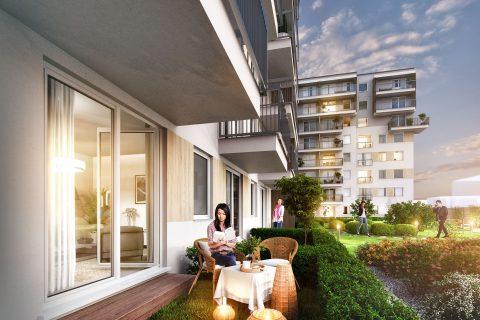 ogródki i patio w Comfort City_przykładowa wizualizacja