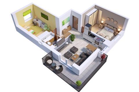 przykładowe mieszkanie trzypokojowe 60,5 m kw