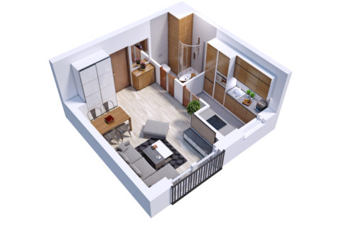 przykładowy pokój z kuchnią 27,5 m kw