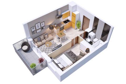 przykładowe mieszkanie dwupokojowe 30,2 kw