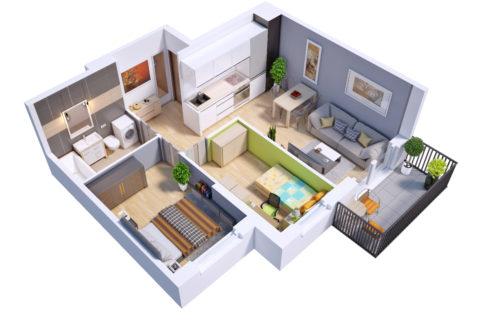 przykładowe mieszkanie trzypokojowe 48,7 m kw