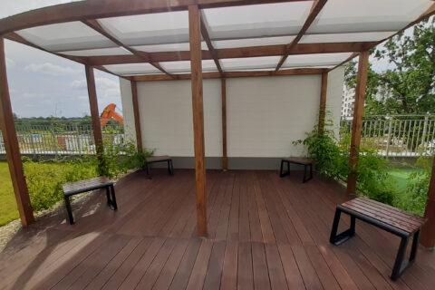Comfort City Bursztyn pergola patio lipiec 2020