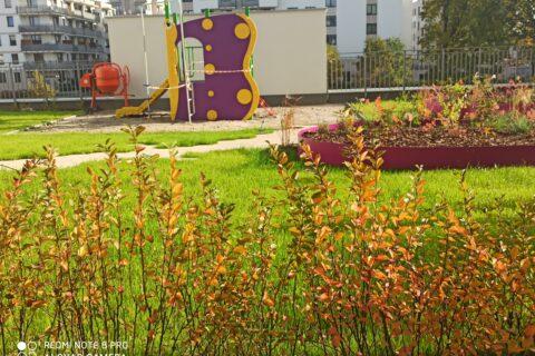 widok z ogródka na patio Comfort City Ametyst październik 2020